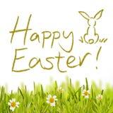 Happy Easter over green grass stock illustration