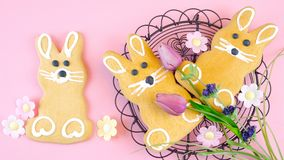 Happy Easter overhead with Easter Bunny cookies and decorations Royalty Free Stock Images