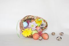 Happy Easter painted colored eggs basket flowers Stock Photos