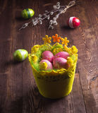Happy Easter. painted eggs in the basket. Christian holiday. Royalty Free Stock Image