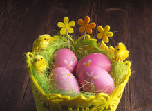 Happy Easter. painted eggs in the basket. Christian holiday. Royalty Free Stock Photography
