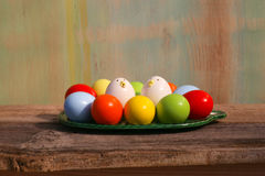 Happy Easter painted Eggs Green Tray Royalty Free Stock Photos