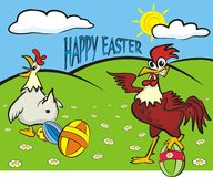 Happy easter - painted eggs, hen and rooster Royalty Free Stock Photos