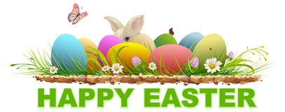 Happy easter. Painted eggs and rabbit on green grass. Template text for greeting card Stock Image