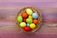 Happy Easter Painted Eggs Wicker Basket Copy Space Royalty Free Stock Images