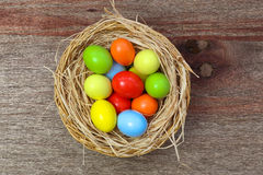 Happy Easter Painted Eggs Wicker Basket Royalty Free Stock Photos