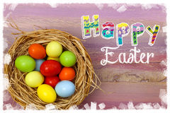 Happy Easter Painted Eggs Wicker Basket Stock Image