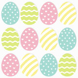 Happy Easter painting egg Painted shell set. Light Color Seamless Line striped, heart, star shape pattern Wrapping paper, textile Stock Photography