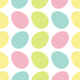 Happy Easter painting egg Painted shell set. Light Color Seamless Pattern Wrapping paper, textile template. White background. Flat Royalty Free Stock Image