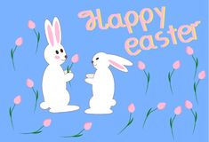 Happy easter, a pair of lovebirds with flowers. Happy easter, couple of enamored rabbits with flowers on a background with flowers. Vector illustration Royalty Free Stock Photo