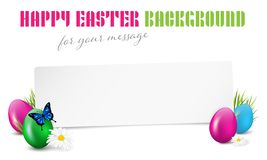 Happy Easter paper card with easter eggs and copy space royalty free stock image