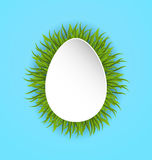 Happy Easter paper card in form egg with green grass, copy space Royalty Free Stock Photos