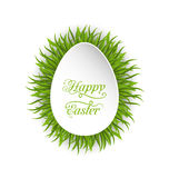 Happy Easter paper card in form egg with green grass Stock Photo