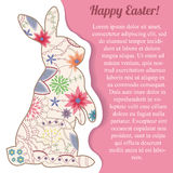 Happy Easter paper card with vintage rabbit Royalty Free Stock Images
