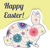 Happy Easter paper card with vintage rabbit Stock Photos