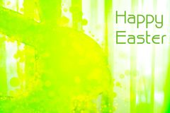 Happy Easter - parts of a light green plastic rabbit Royalty Free Stock Photography