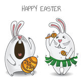 Happy Easter party. Vector illustration of two Easter rabbits dancing and singing Royalty Free Stock Photos