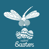 Happy easter. Paschal Eggs. Dragonfly. Design of greeting cards, invitations, flyers. Royalty Free Stock Photo