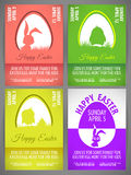 Happy easter pastel color vector illustration Flyer templates Set with rabbit and chicken silhouettes in egg Royalty Free Stock Photos