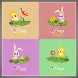 Happy easter pastel colorful cards Set meadow with rabbit, chicken, newborn, butterfly, eggs, flower, ladybug Stock Images