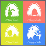 Happy Easter Pastel Colorful Cards Set Meadow With Rabbit, Chicken, Newborn, Butterfly, Eggs, Flower, Ladybug Stock Photo