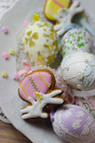 Happy easter pastel eastereggs  bunny cookies  table Royalty Free Stock Images
