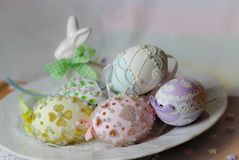 Happy easter pastel eastereggs bunny Stock Photography
