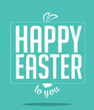 Happy Easter peeking bunny ears and text Royalty Free Stock Photo