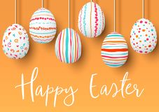 Happy Easter. pending easter eggs on golden background. Easter colorful hanging eggs with simple pink, orange, red, blue stripes vector illustration