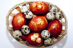 Happy Easter!eggs dyed with onion skin  Royalty Free Stock Image