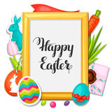 Happy Easter photo frame with decorative objects Royalty Free Stock Photo