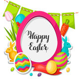 Happy Easter photo frame with decorative objects Stock Images