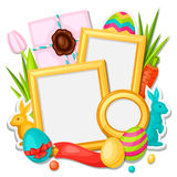 Happy Easter photo frame with decorative objects Royalty Free Stock Photography