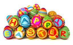 Happy Easter. Pile of eggs Stock Photo