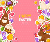 Happy Easter Pink Banner With Flat Stickers Royalty Free Stock Photography