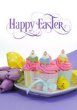 Happy Easter pink, yellow and blue cupcakes with sample text Royalty Free Stock Photography