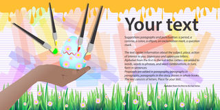 Happy Easter. Place for your text. Four brushes stock illustration