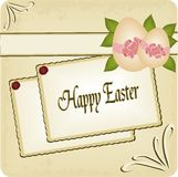 Happy Easter postcard. Illustration of old style postcard for Easter holidays Royalty Free Stock Photos