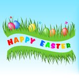 Happy Easter postcard. Illustration of easter postcard with easter elements Royalty Free Stock Photo