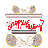 Happy easter postcard, banner with eggs and hand drawn text. Vector Stock Photos