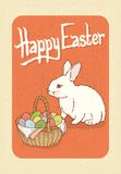 Happy Easter Postcard. With Bunny and Egg Basket Stock Photo