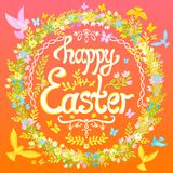 Happy Easter postcard - circle with flowers and birds Royalty Free Stock Photos