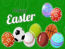 Happy Easter postcard cover sports greetings on the background of the field and with balls in the shape of an egg and decorative stock illustration