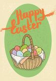 Happy Easter Postcard. With Easter Egg Basket Royalty Free Stock Image