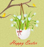 Happy easter. Postcard Happy Easter. Easter egg and snowdrops royalty free illustration
