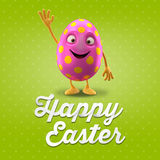 Happy Easter postcard, greeting card, merry easter congratulation. Happy Easter egg, merry 3D cartoon object Stock Image