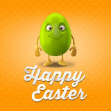 Happy Easter postcard, greeting card, merry easter congratulation. Happy Easter egg, merry 3D cartoon object Royalty Free Stock Photos