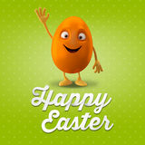 Happy Easter postcard, greeting card, merry easter congratulation. Happy Easter egg, merry 3D cartoon object Royalty Free Stock Photo