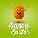 Happy Easter postcard, greeting card, merry easter congratulation. Happy Easter egg, merry 3D cartoon object Stock Photography