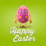 Happy Easter postcard, greeting card, merry easter congratulation. Happy Easter egg, merry 3D cartoon object Royalty Free Stock Images